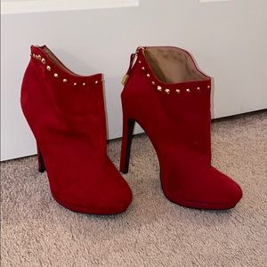 Red Suede Booties with Gold Stud Detail